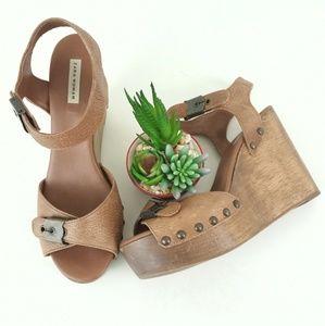 Zara Woman Open Toe Wedge Sandals SZ 40